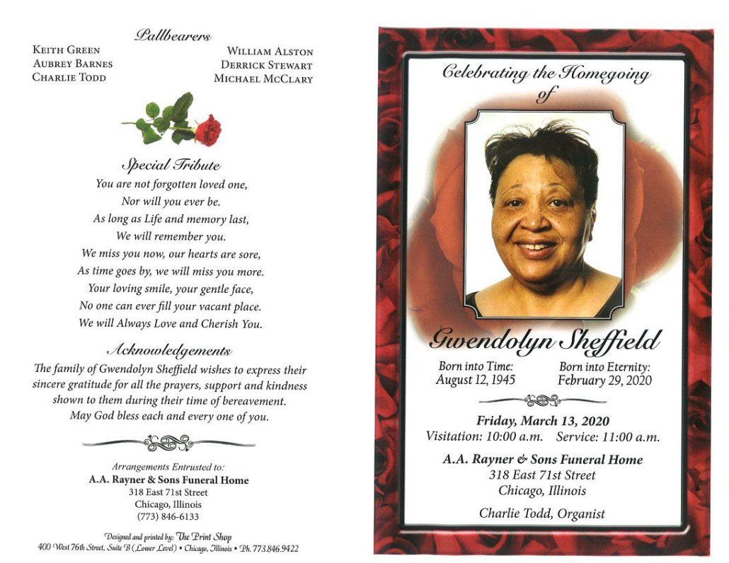 Gwendolyn Sheffield Obituary