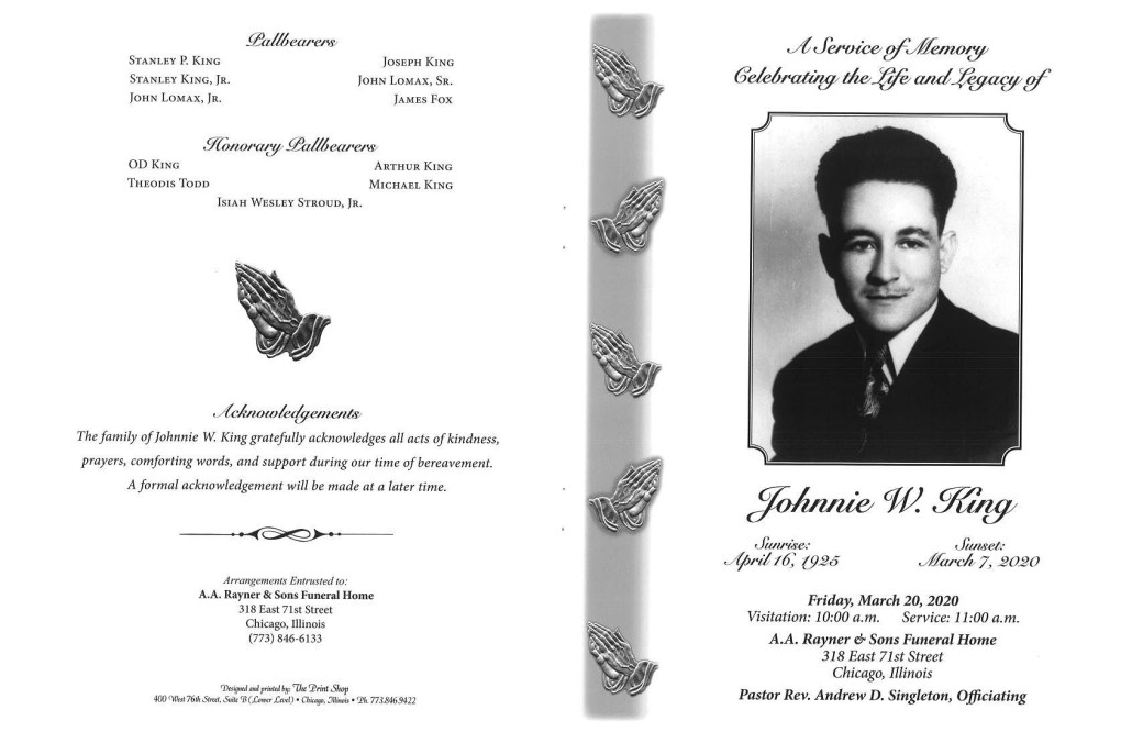 Johnnie W King Obituary