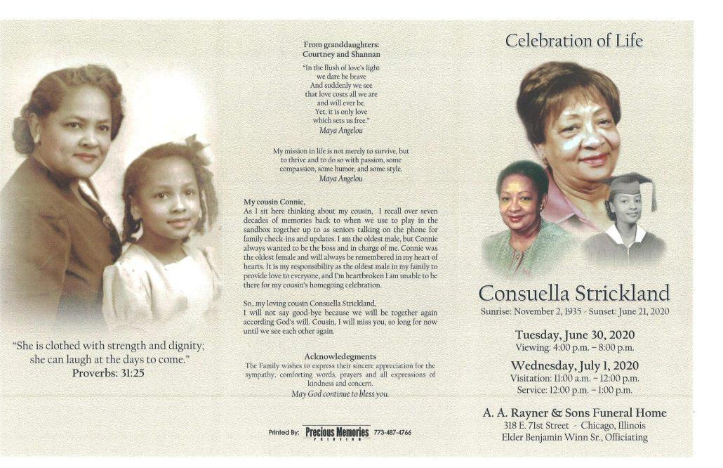 Consuella Strickland Obituary