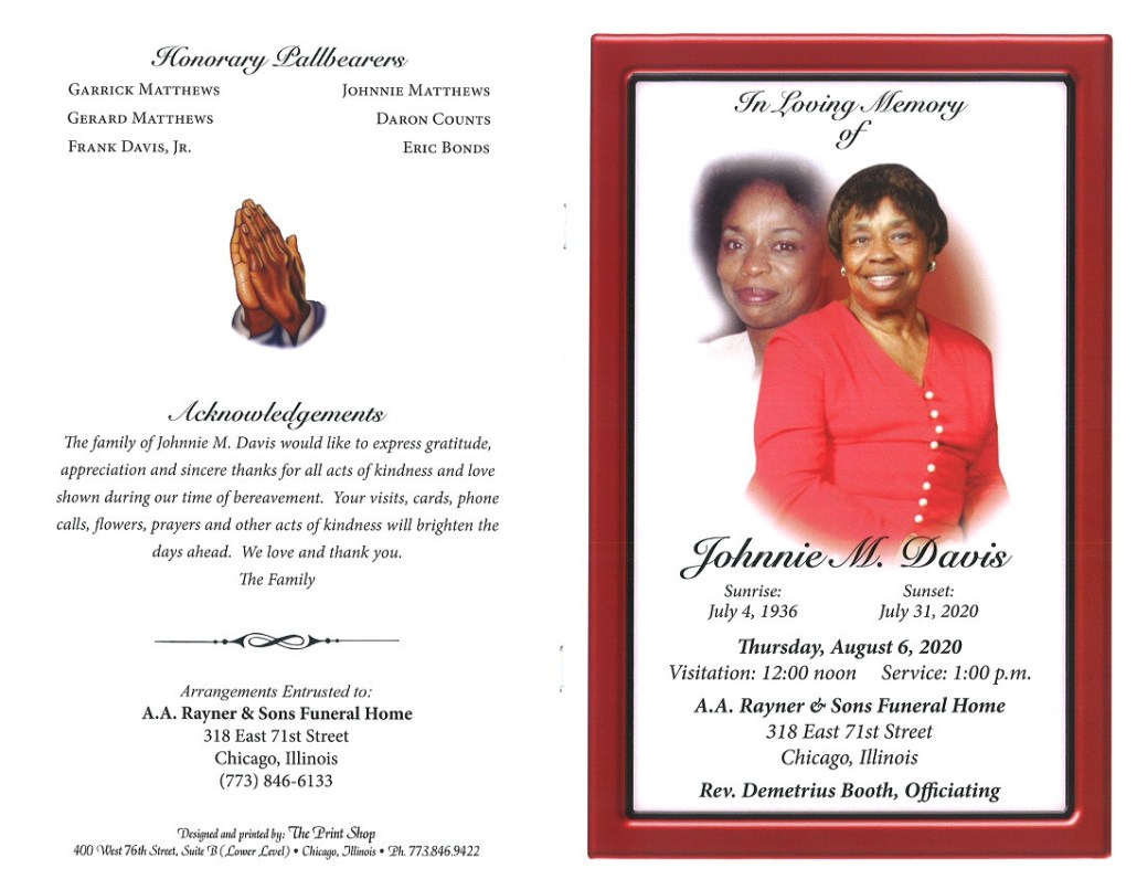 Johnnie M Davis Obituary