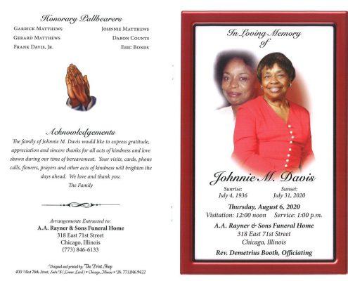 Johnnie M Davis Obituary