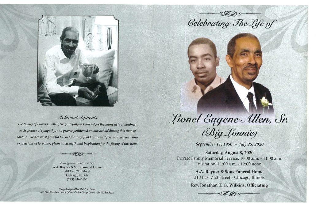 Lionel E Allen Sr Obituary