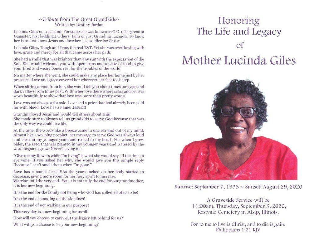 Lucinda Giles Obituary