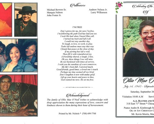 Ollie M ONeal Obituary
