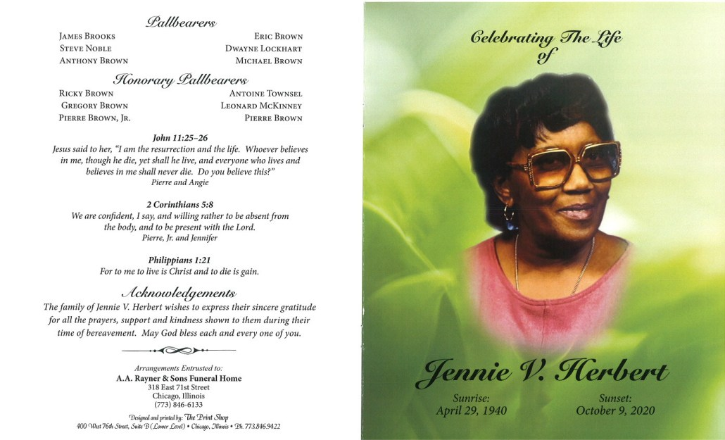 Jennie V Herbert Obituary