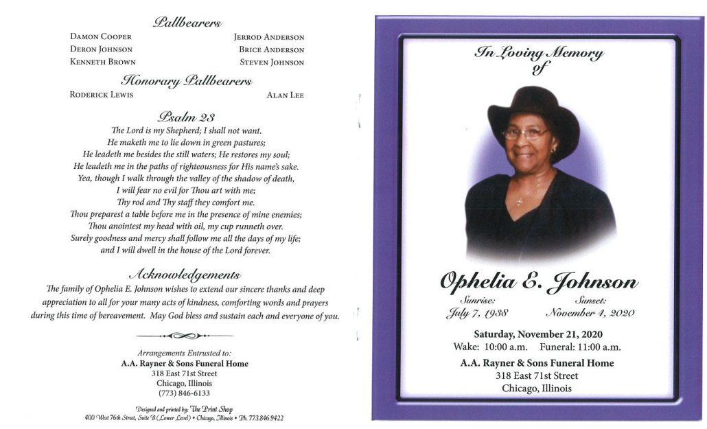 Ophelia E Johnson Obituary