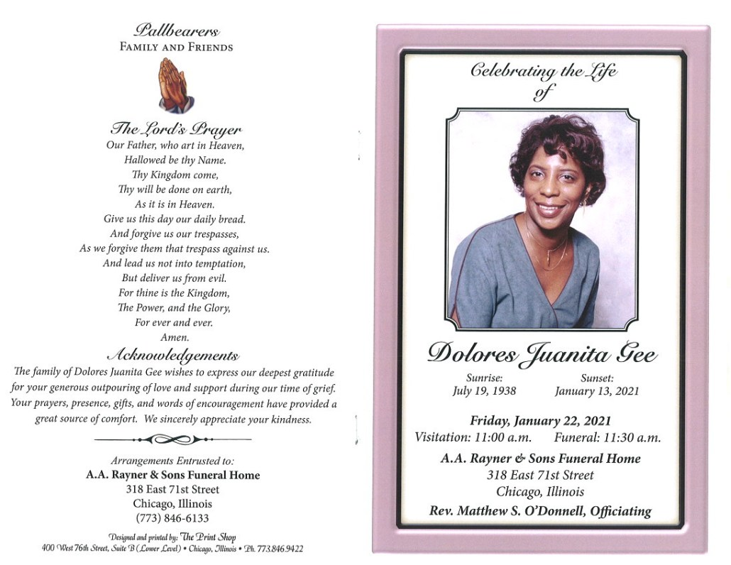 Dolores Juanita Gee Obituary