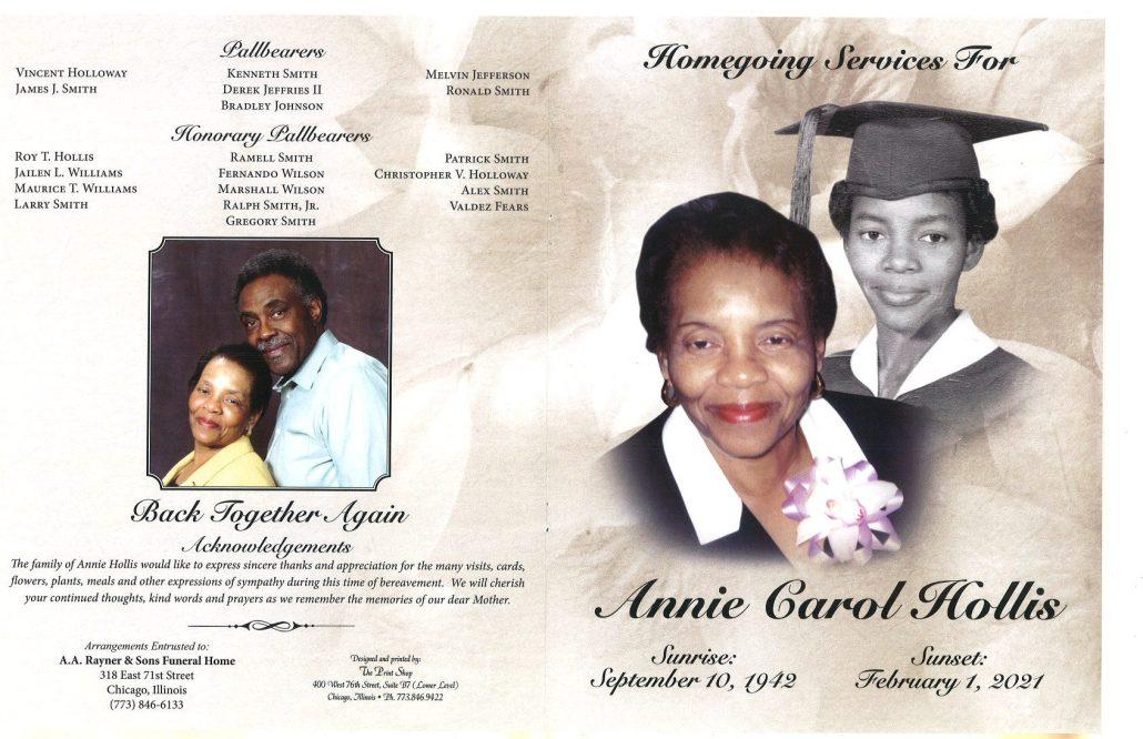 Annie C Hollis Obituary