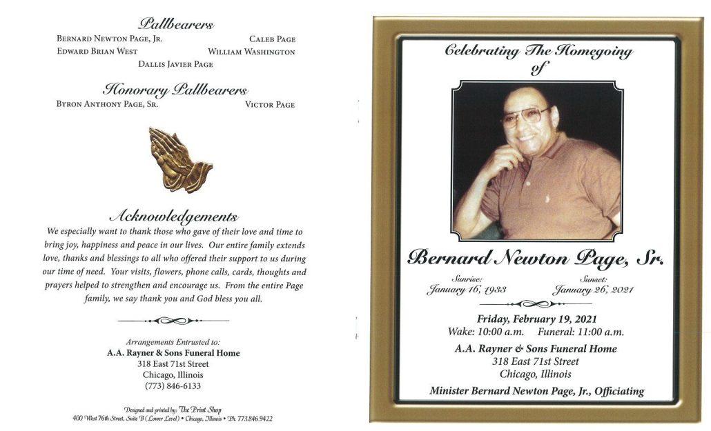 Bernard N Page Sr Obituary