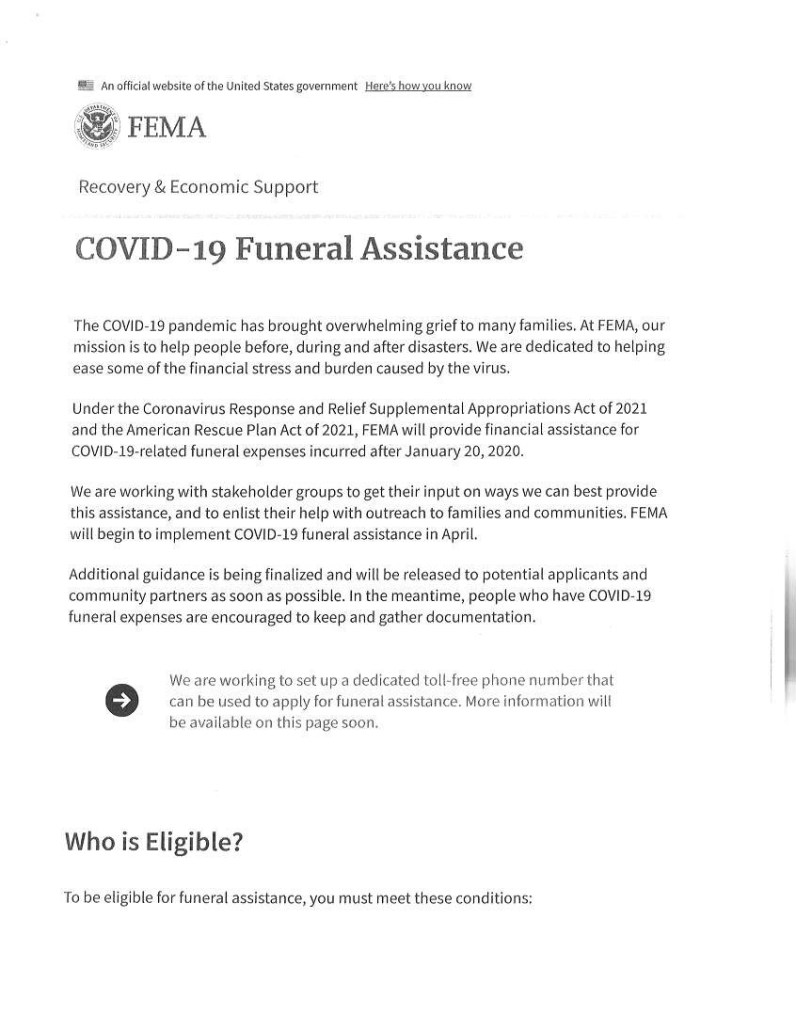 Covid 19 Funeral Assistance AA Rayner and Sons funeral Home Chicago