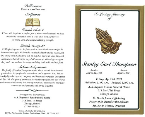 Stanley E Thompson Obituary