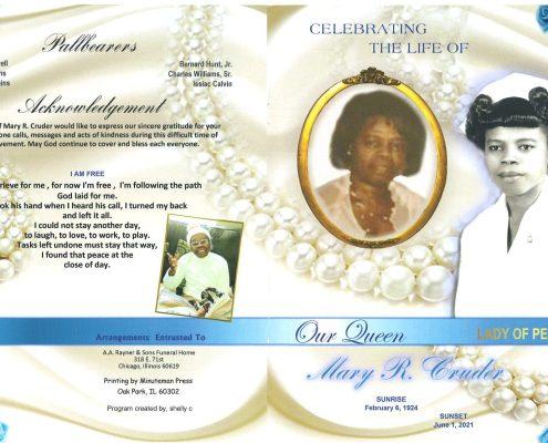 Mary R Cruder Obituary