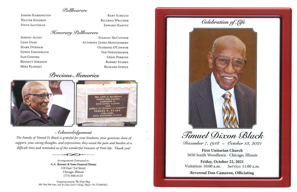 Timuel Dixon Black Obituary AA Rayner and sons funeral home