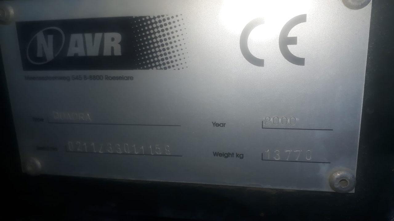 registratieplaatje van de AVR Quadra aardappelrooier