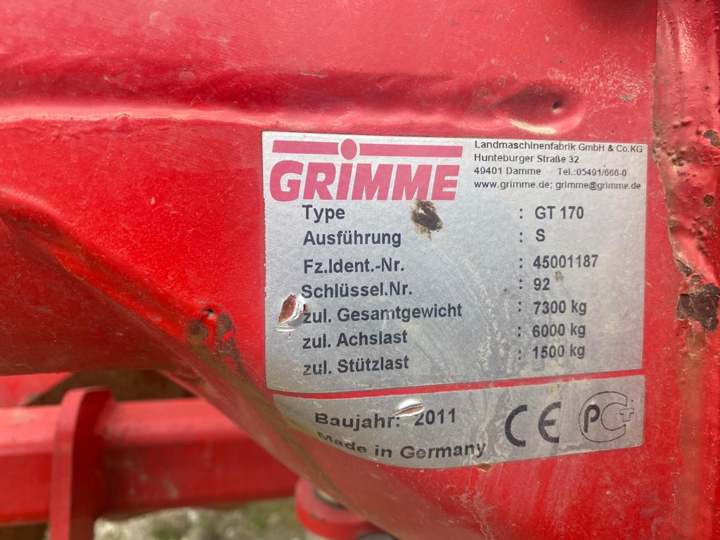 Grimme GT 170 typeplaatje