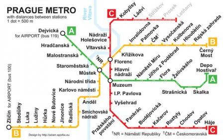 Metrokaart van Praag