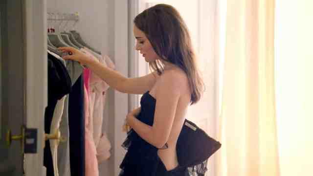 Natalie Portman met een zwarte bustier van Dior