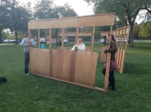 Gil, on left, building a Sukkah with his friends in Jewish Students of Carleton