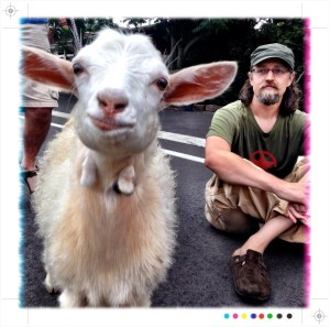 Dave Nelson and a goat