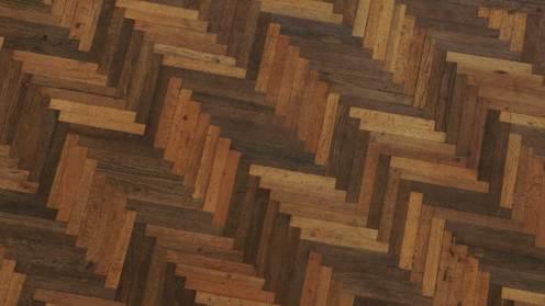 7000 år gammelt moseeg lagt i et sindrigt mønster dækker gulvene i rådhushal og forhal