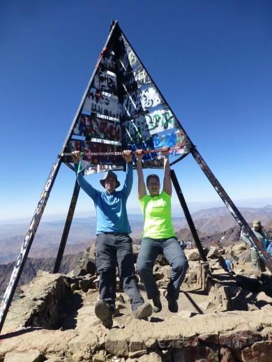 Swinging on the summit of Mount Toubkal