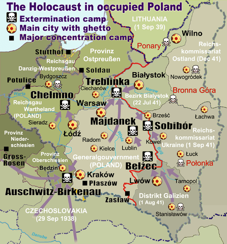 Colored map showing the location of all the extermination camps (Holocaust death camps) in Poland including Auschwitz-Birkenau, Belzec, Sobibor, Majdanek, Chelmno & Treblinka