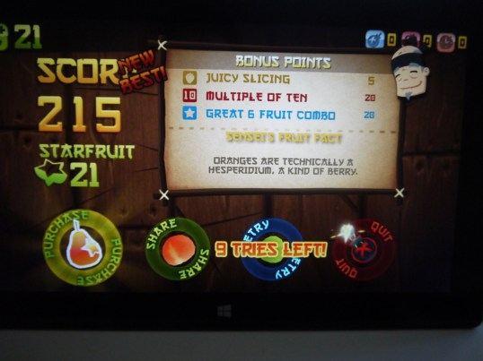 Fruit Ninja on Surface RT