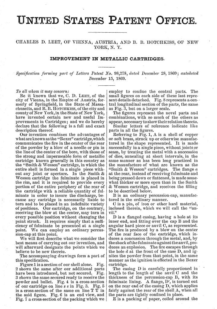 C. D. Leet patent No. 98,278