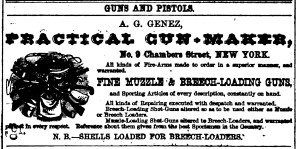 A. G. Genez, Practical Gun-Maker 1871 ad
