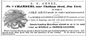 A. G. Genez, Fire Arms made to order and warranted 1868 ad