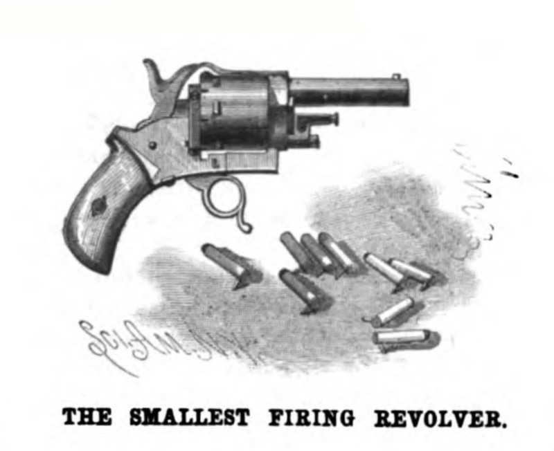 2mm Pinfire gun Engraving from the July 18, 1885 issue of Scientific American