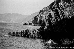 The rocks at the edge of the marina