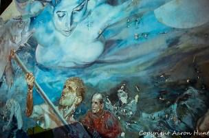 Amazing fresco on a retaining walls.