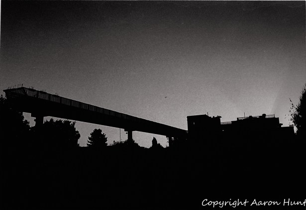 """Underexposed shot of """"The Bridge to Nowhere"""" in Les Ulis."""