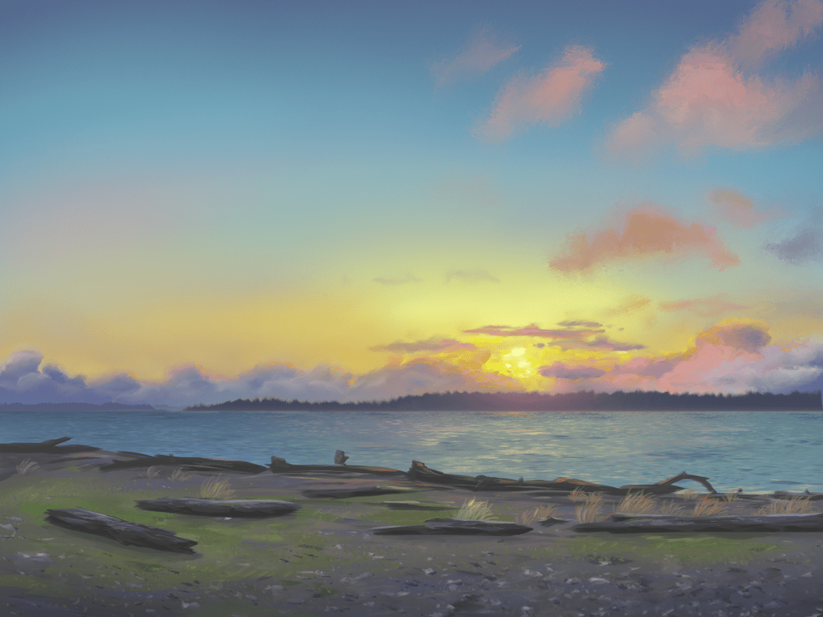 digital painting of Marina Beach Park in Edmonds, WA at sunset