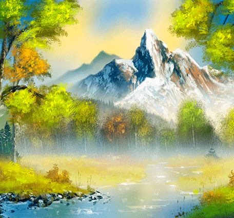 digital painting of a mountain in a bob ross style