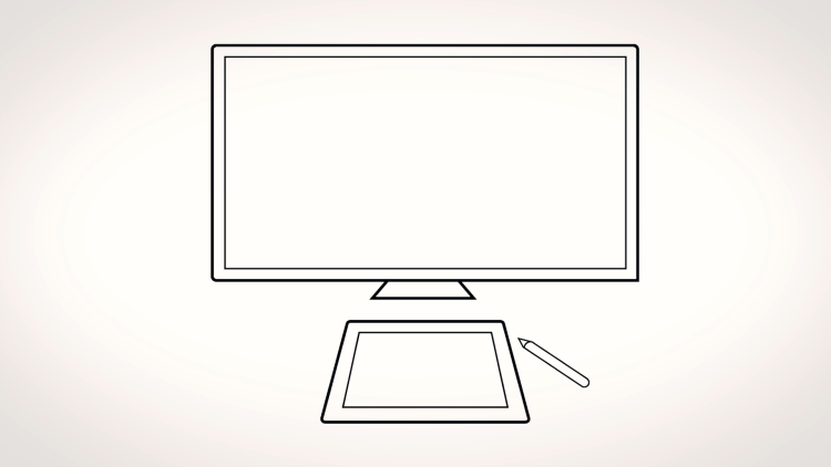 drawing tablet positioned correctly in front of display