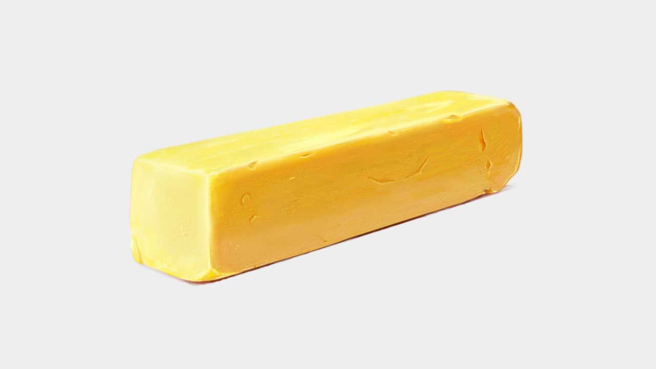 still life painting of butter