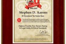 Stephen D Aarons 2013 20th Year AV Preeminent