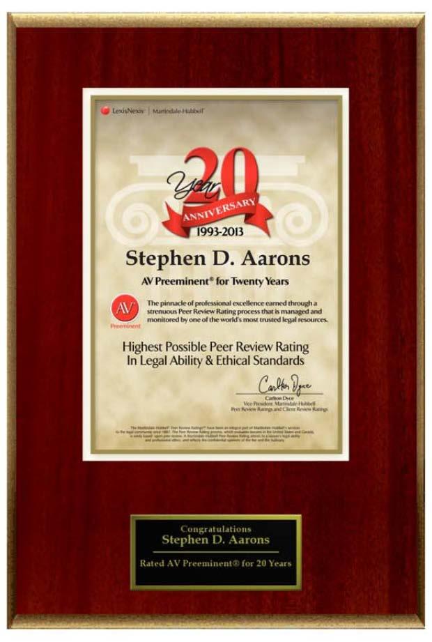 Stephen D Aarons 2013 20th Year AV Preeminent