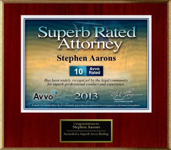 Stephen D Aarons, 2013 Superb Rated Attorney Avvo