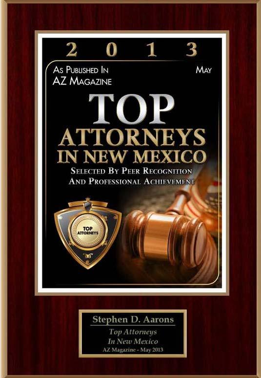 Stephen D Aarons in 2013 Top Attorneys AZ Magazine