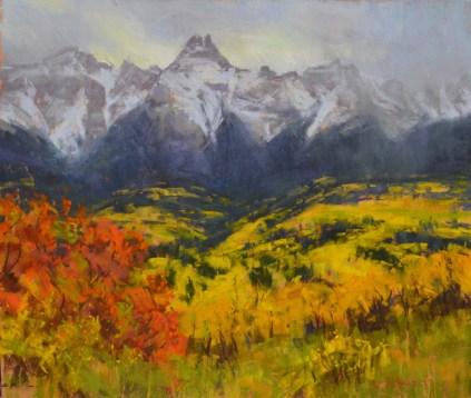 """Autumn Storm, Jan Juan Mountains"" 10x12, pastel."