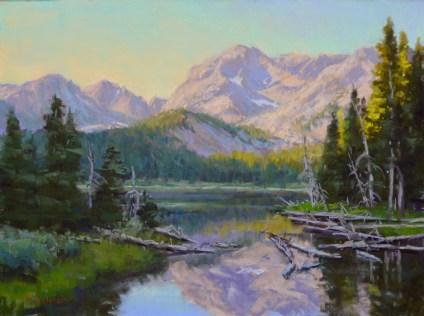 """""""Mirror Lake Morning"""" 12x16, pastel."""