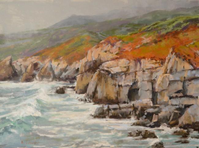"""Garrapata Cliff"" 12x16, pastel."
