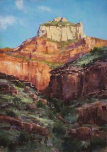 """Mile 9: Morning Illumination, Oza Butte"" 14x9"
