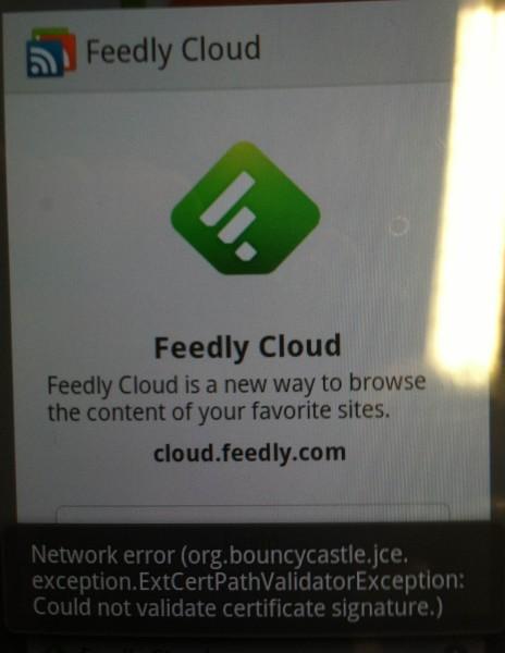 Feedly app login error