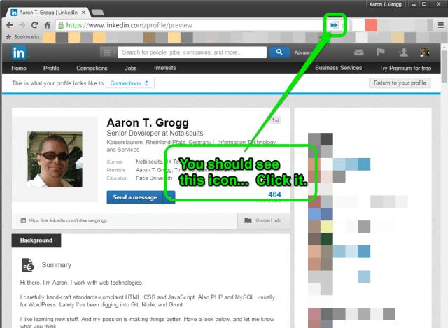 LinkedIn Chrome Extension instructions, step 2