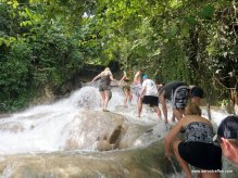Climbing up Dunn's River Falls