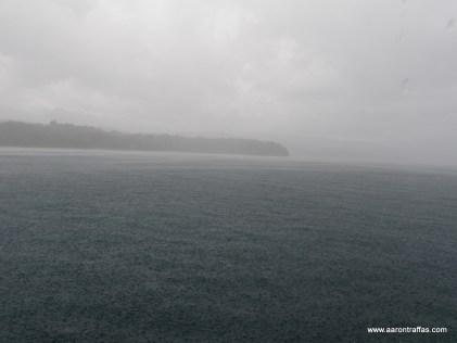 The coastline through the storm